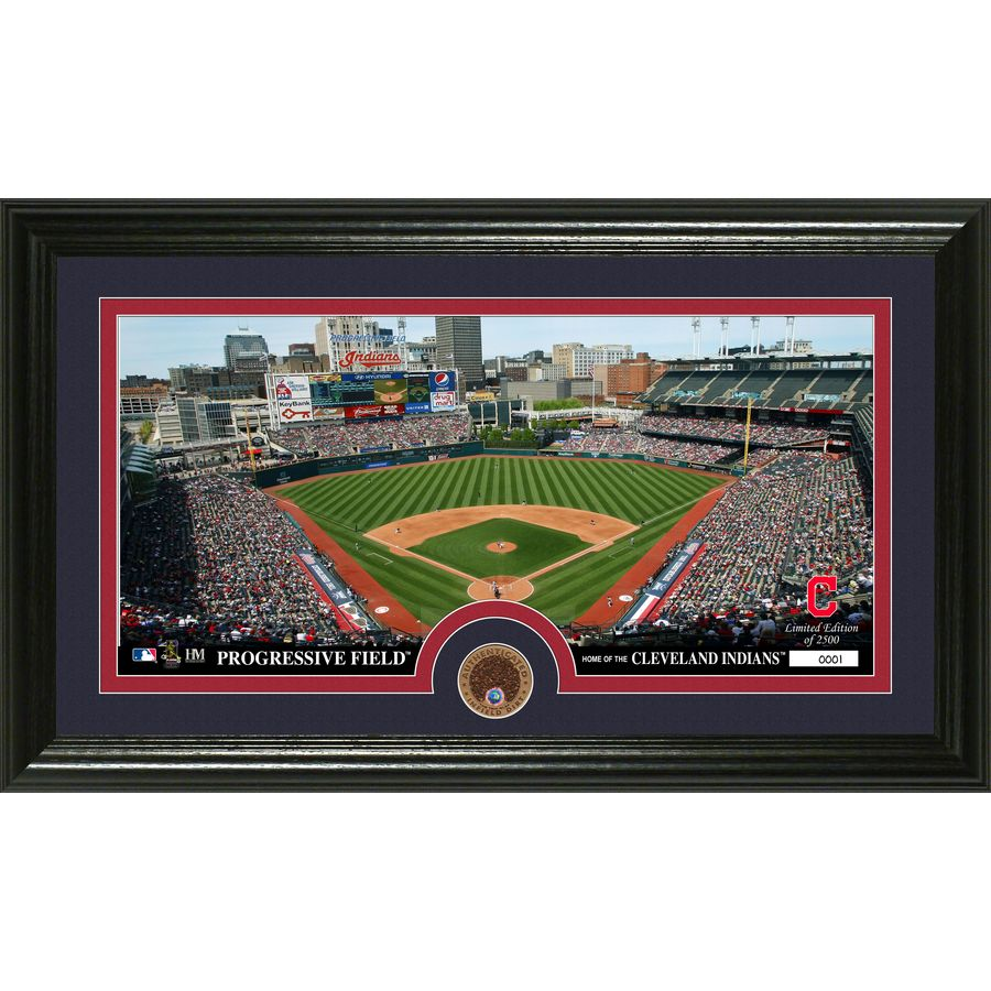 The Highland Mint 20-in W x 12-in H Cleveland Indians Infield Dirt Coin Panoramic Photo Mint Wall Art