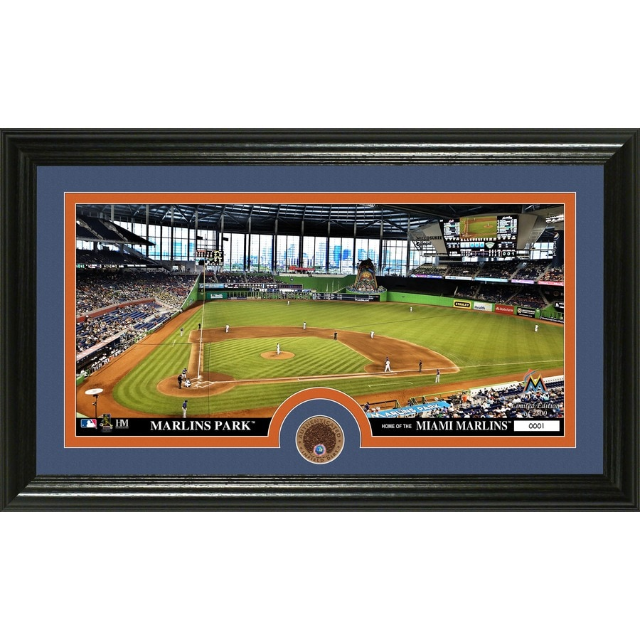 The Highland Mint 20-in W x 12-in H Miami Marlins Infield Dirt Coin Panoramic Photo Mint Wall Art