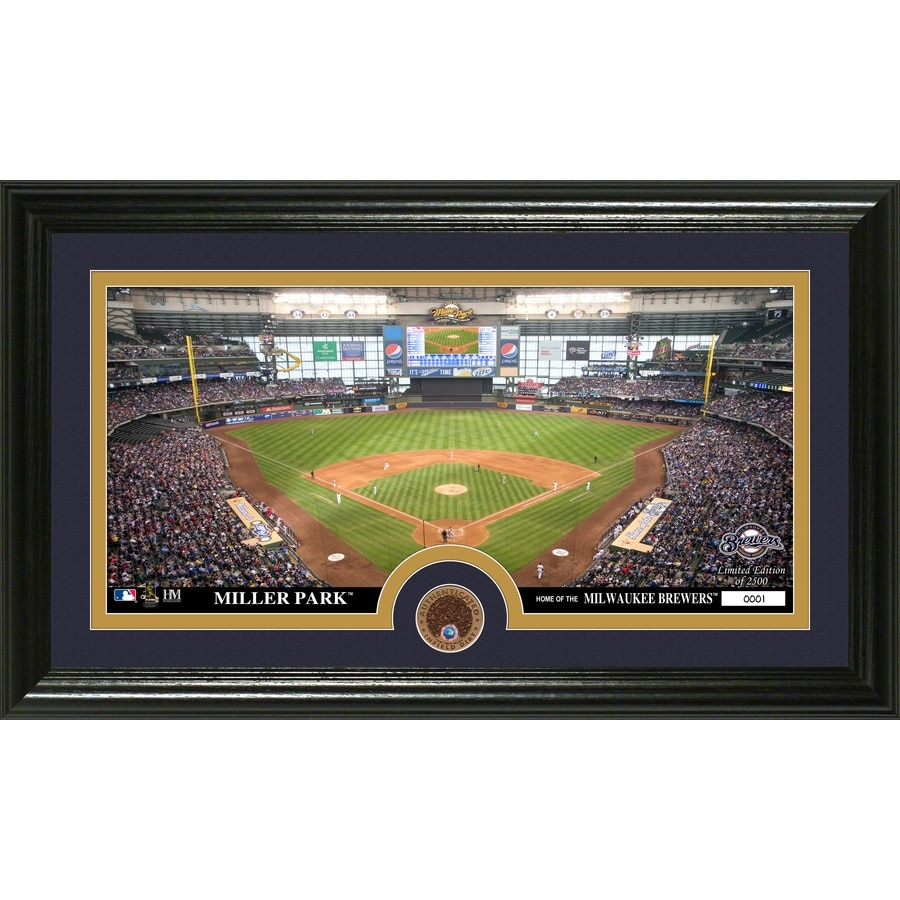 The Highland Mint 20-in W x 12-in H Milwaukee Brewers Infield Dirt Coin Panoramic Photo Mint Wall Art