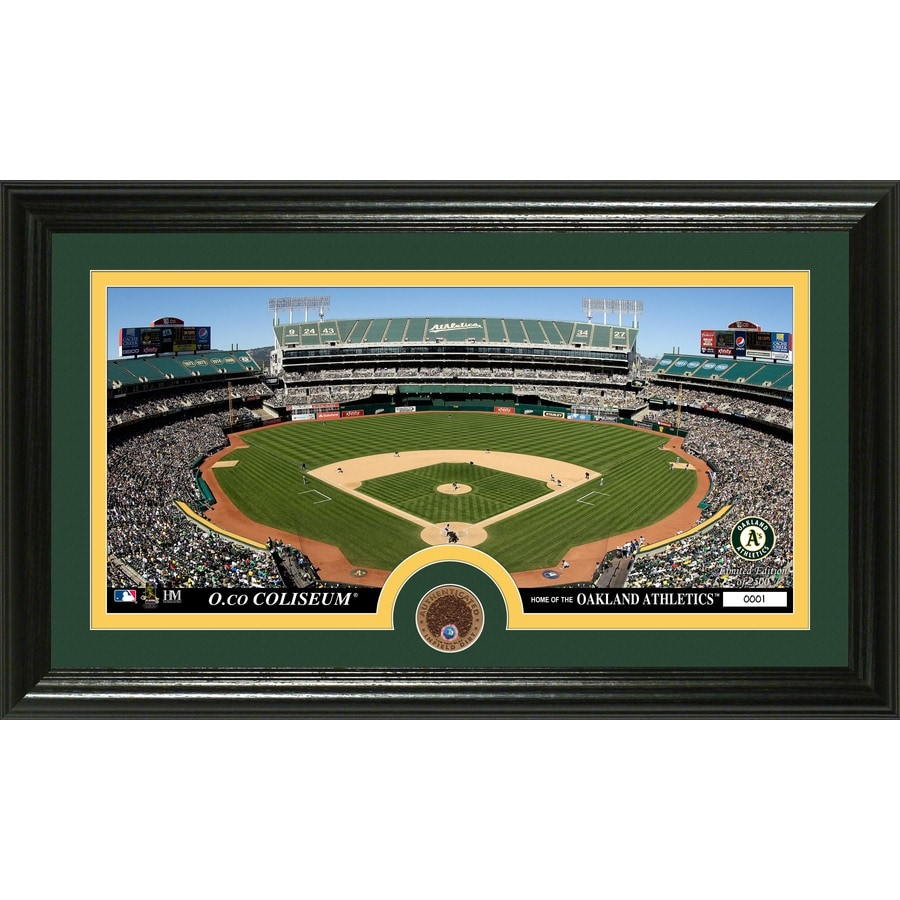 The Highland Mint 20-in W x 12-in H Oakland A's Infield Dirt Coin Panoramic Photo Mint Wall Art