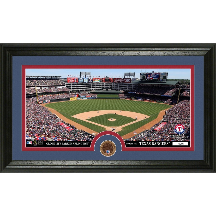The Highland Mint 20-in W x 12-in H Texas Rangers Infield Dirt Coin Panoramic Photo Mint Wall Art