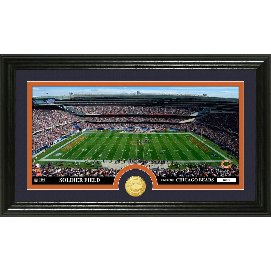 The Highland Mint 20-in W x 12-in H Chicago Bears Stadium Bronze Coin Panoramic Photo Mint Wall Art