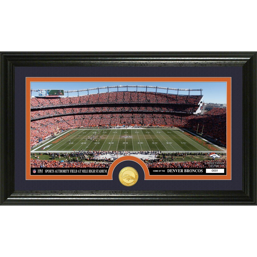 The Highland Mint 20-in W x 12-in H Denver Broncos Stadium Bronze Coin Panoramic Photo Mint Wall Art