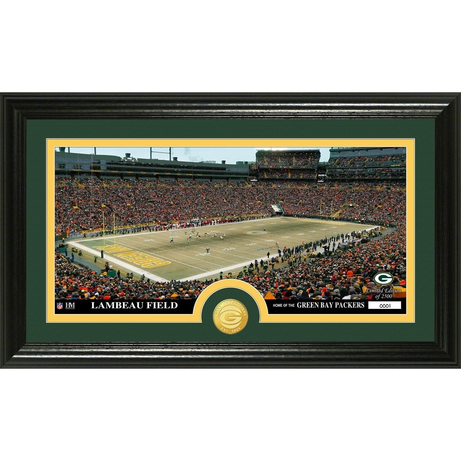 The Highland Mint 20-in W x 12-in H Green Bay Packers Stadium Bronze Coin Panoramic Photo Mint Wall Art