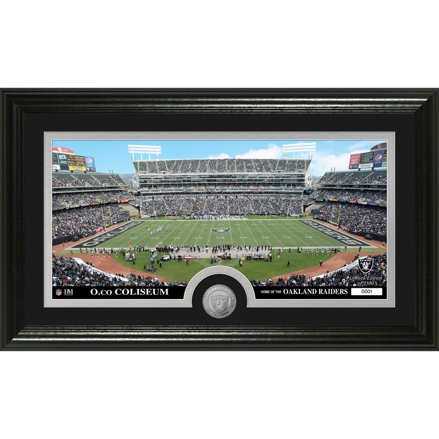 The Highland Mint 20-in W x 12-in H Oakland Raiders Stadium Minted Coin Panoramic Photo Mint Wall Art