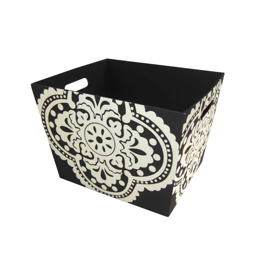 Style Selections 14-in W x 10-in H x 12-in D Black and White Medallion Print Fabric Bin