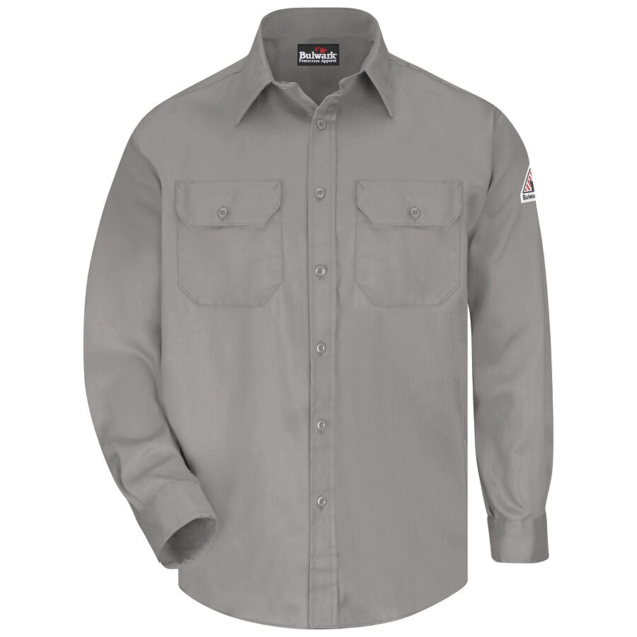 Bulwark Men's Medium Grey Twill Cotton Blend Long Sleeve Uniform Work Shirt