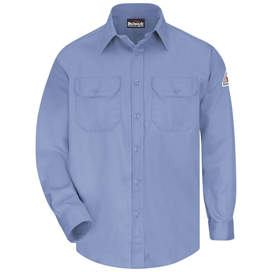 Bulwark Men's Small Light Blue Twill Cotton Blend Long Sleeve Uniform Work Shirt