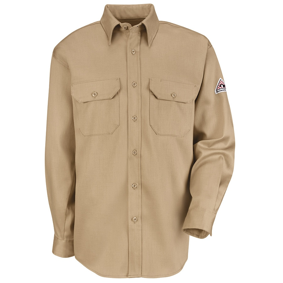 Bulwark Men's Small Khaki Twill Cotton Blend Long Sleeve Uniform Work Shirt