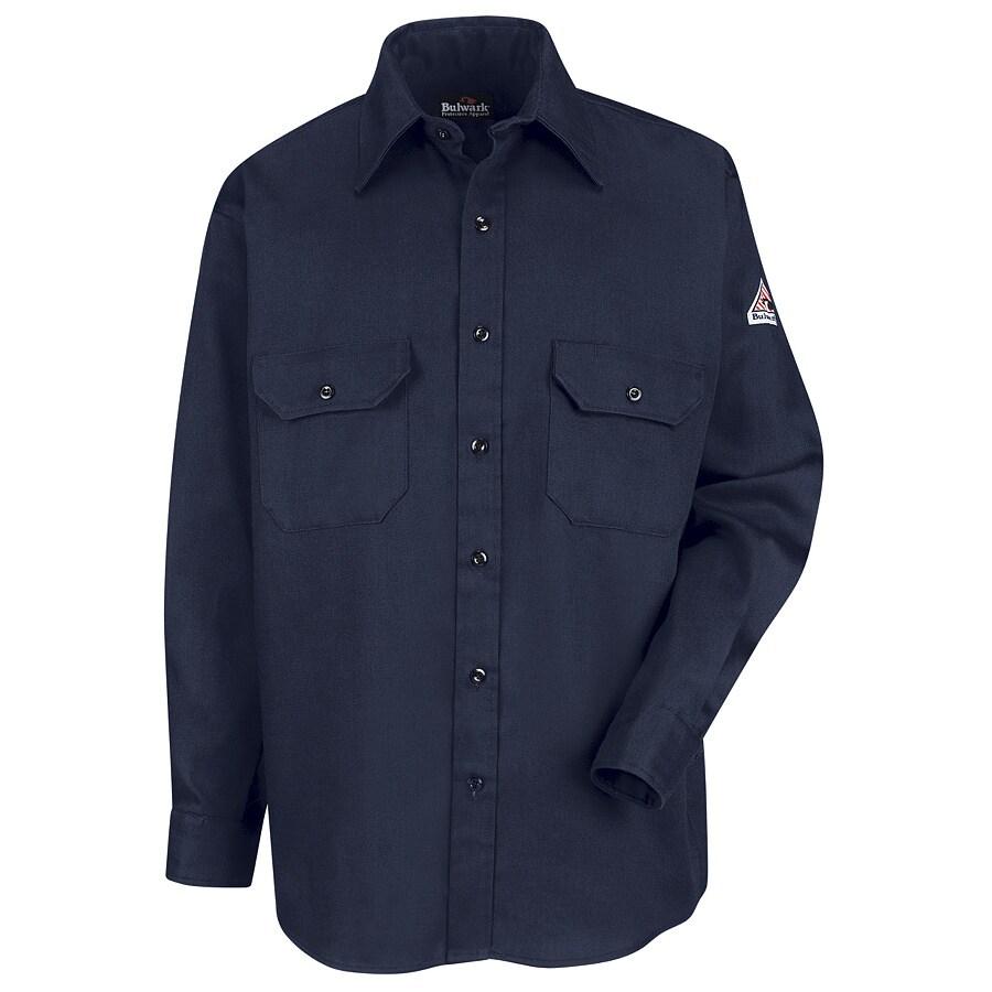Bulwark Men's Small Navy Twill Cotton Blend Long Sleeve Uniform Work Shirt