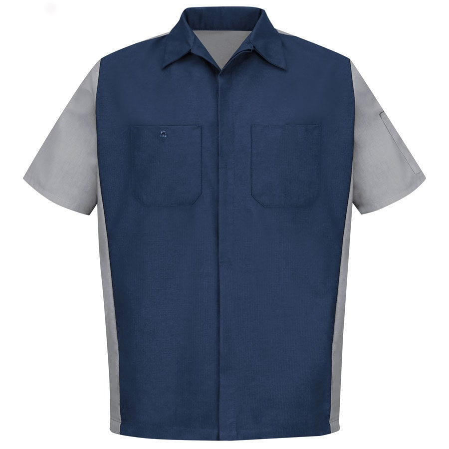 Red Kap Men's Medium Navy and Grey Twill Polyester Blend Short Sleeve Uniform Work Shirt