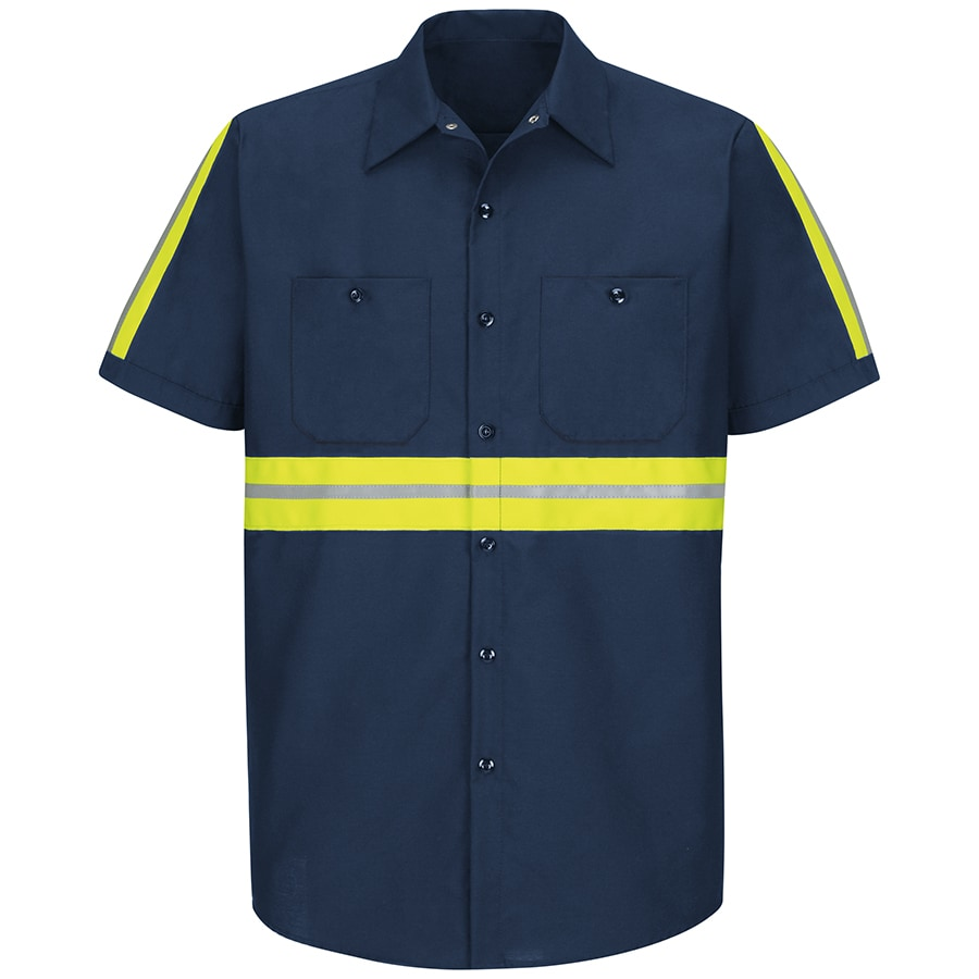 Red Kap Men's Large Navy with Yellow/Green Reflective Trim Poplin Polyester Blend Short Sleeve Uniform Work Shirt