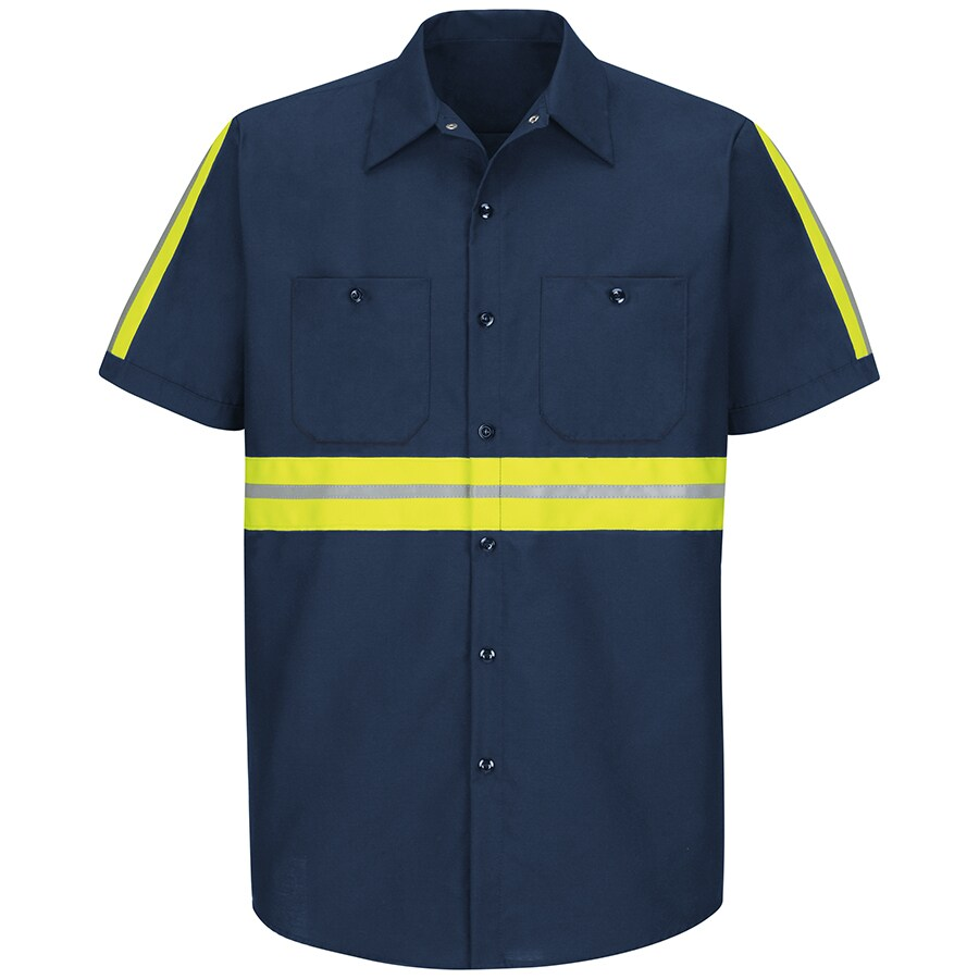Red Kap Men's Medium Navy with Yellow/Green Reflective Trim Poplin Polyester Blend Short Sleeve Uniform Work Shirt