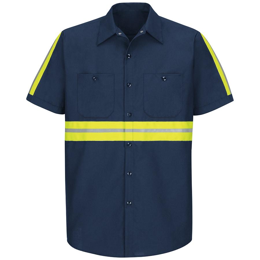 Red Kap Men's X-Large Navy with Yellow/Green Reflective Trim Poplin Polyester Blend Short Sleeve Uniform Work Shirt
