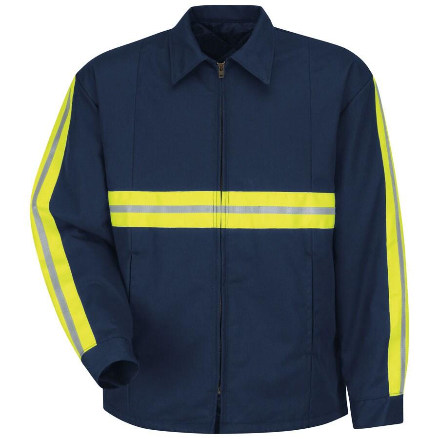 Red Kap Large-Long Men's Navy Twill Enhanced Visibility Panel Jacket