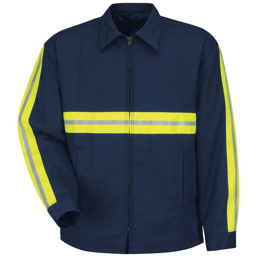 Red Kap Large Men's Navy Twill Enhanced Visibility Panel Jacket