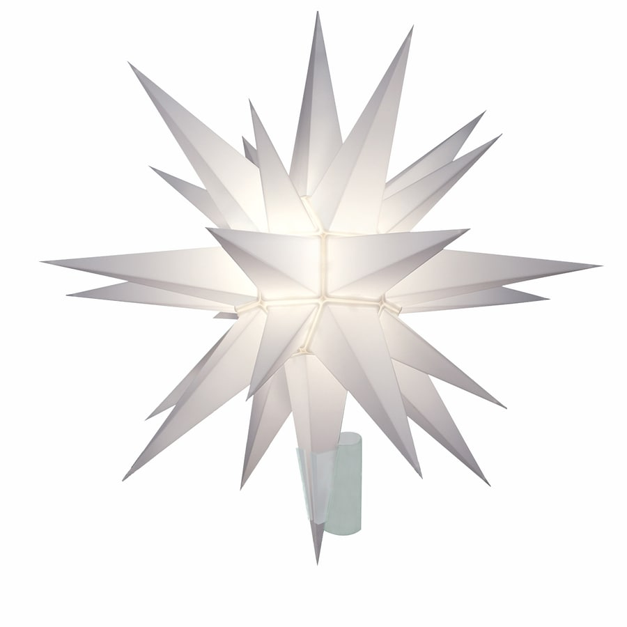 holiday living 12 in plastic star christmas tree topper with white incandescent lights