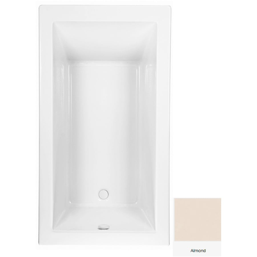 Laurel Mountain Parker 9 Almond Acrylic Rectangular Drop-in Bathtub with Reversible Drain (Common: 42-in x 72-in; Actual: 24-in x 42-in x 72-in