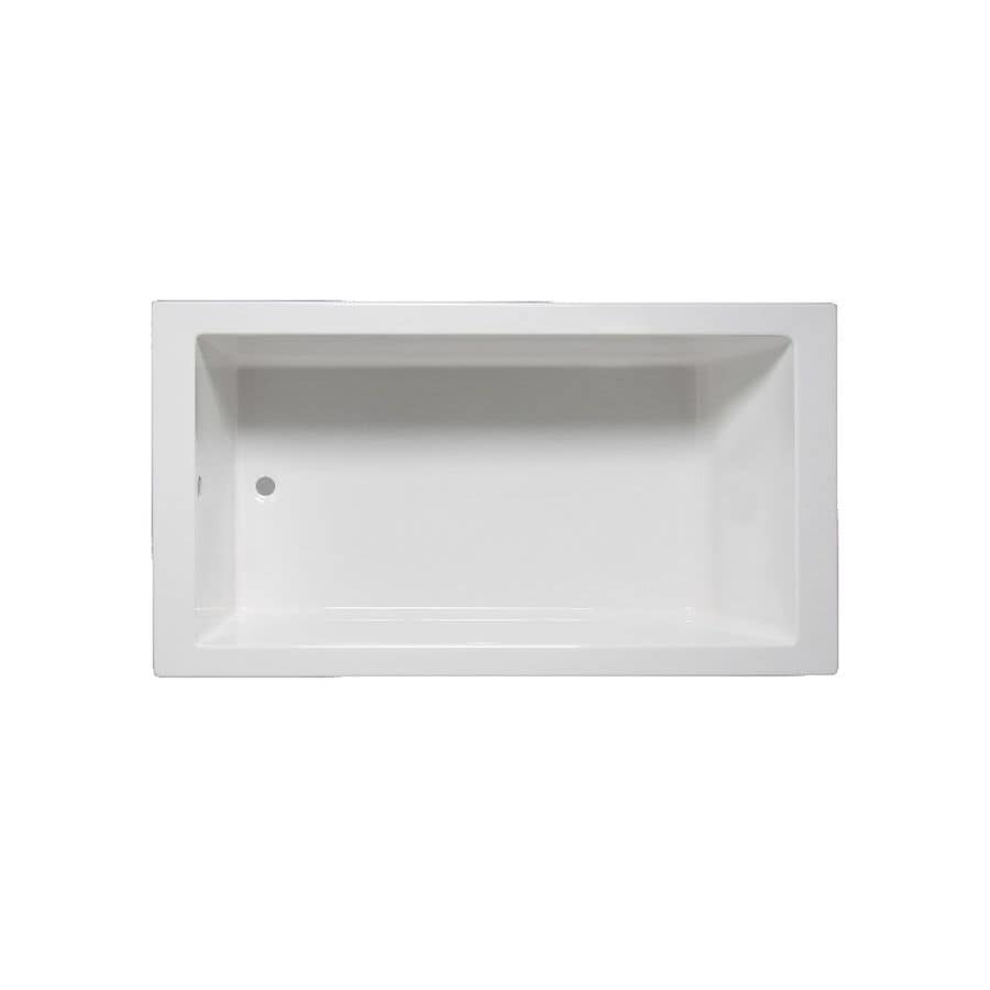 Laurel Mountain Parker 6 66-in White Acrylic Drop-In Bathtub with Reversible Drain