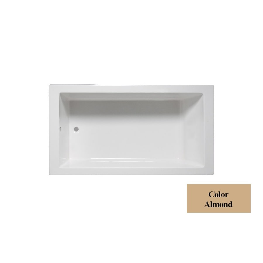 Laurel Mountain Parker 6 Almond Acrylic Rectangular Drop-in Bathtub with Reversible Drain (Common: 36-in x 66-in; Actual: 24-in x 36-in x 66-in