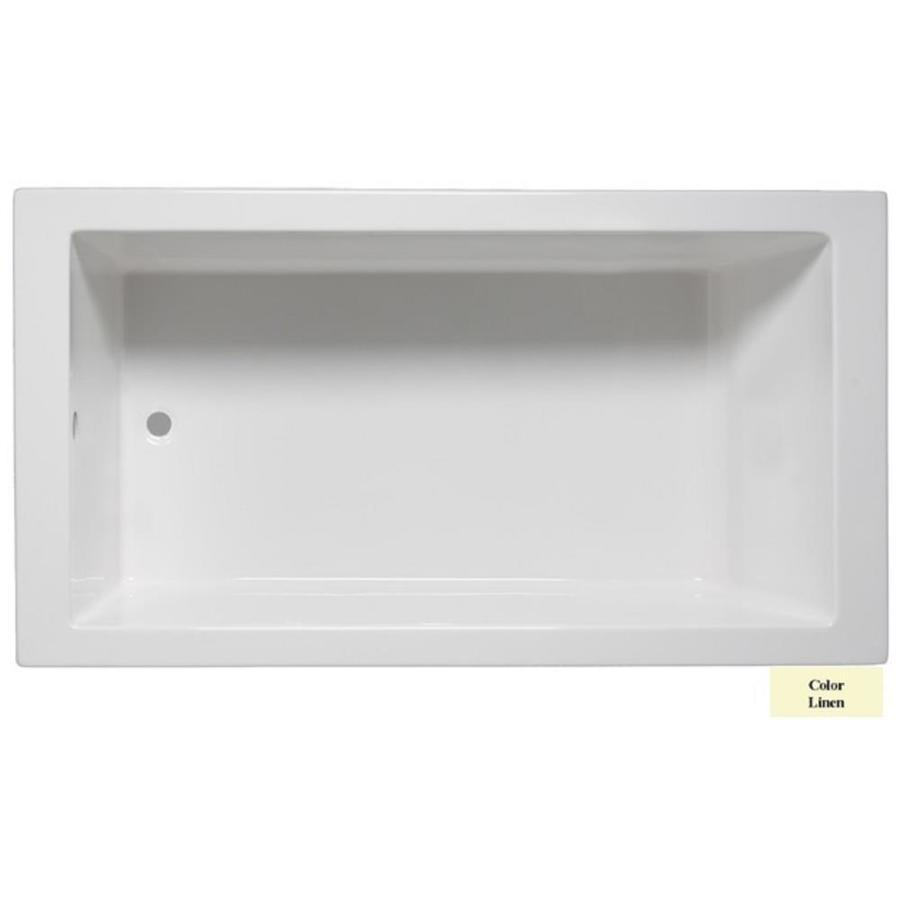 Laurel Mountain Parker 3 Linen Acrylic Rectangular Drop-in Bathtub with Reversible Drain (Common: 32-in x 66-in; Actual: 23.25-in x 32-in x 65.75-in