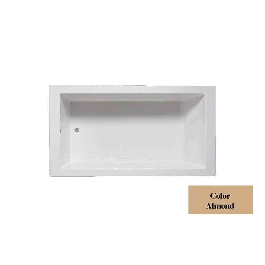 Laurel Mountain Parker 5 Almond Acrylic Rectangular Drop-in Bathtub with Reversible Drain (Common: 36-in x 60-in; Actual: 23.25-in x 36-in x 59.75-in