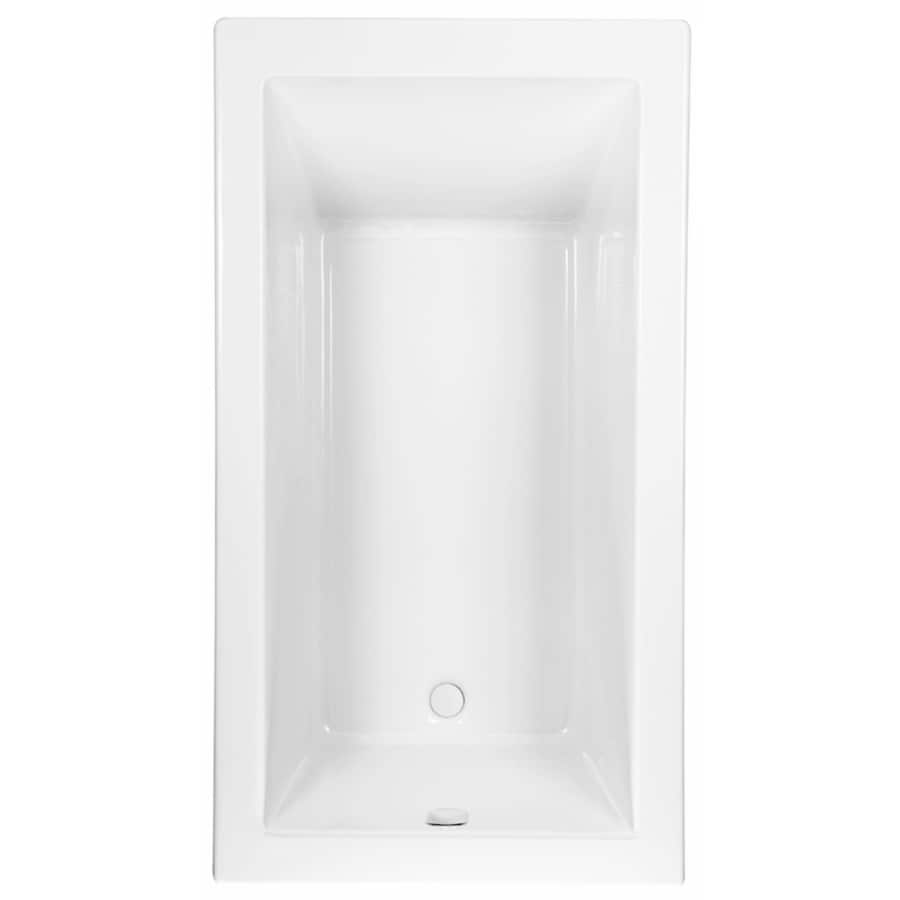 Laurel Mountain Parker 8 White Acrylic Rectangular Drop-in Bathtub with Reversible Drain (Common: 42-in x 66-in; Actual: 24-in x 42-in x 65.75-in