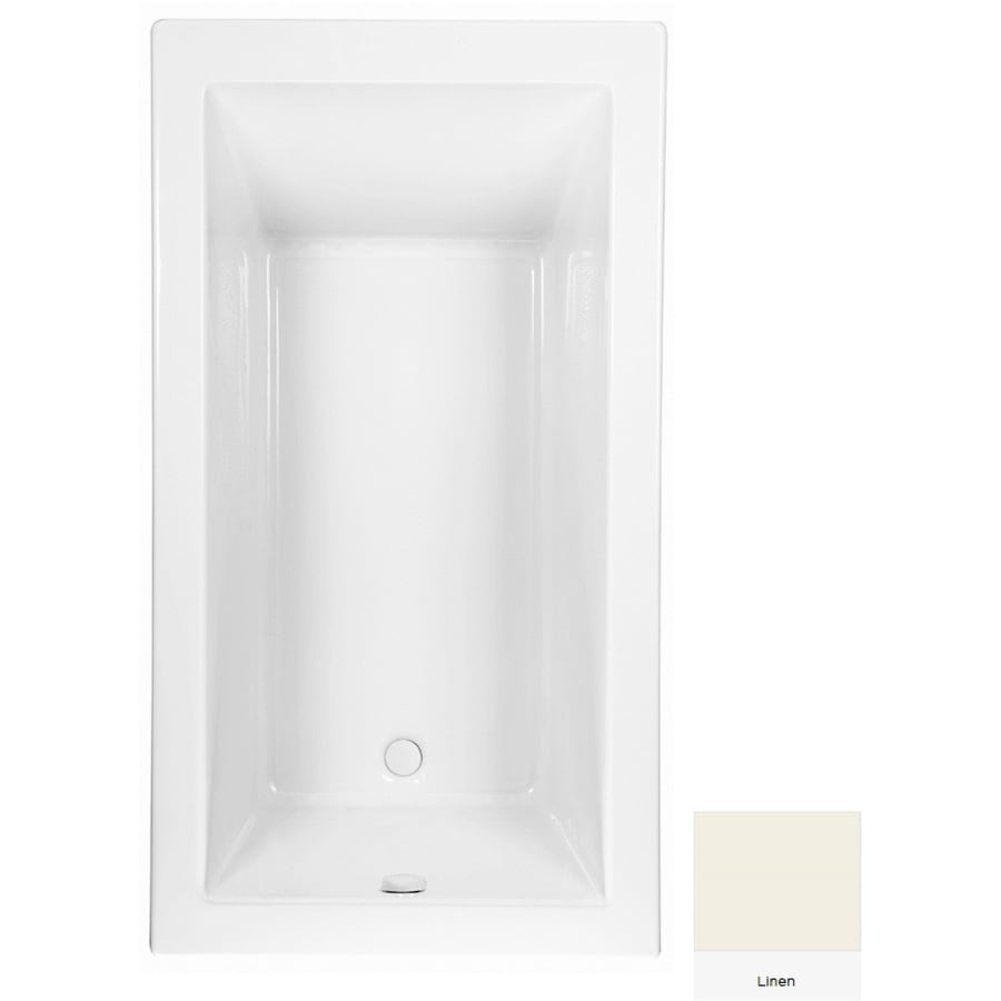 Laurel Mountain Parker 8 65.75-in Linen Acrylic Drop-In Bathtub with Reversible Drain
