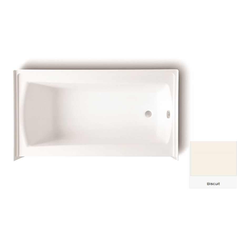 Laurel Mountain Parker 20 Biscuit Acrylic Rectangular Skirted Bathtub with Right-Hand Drain (Common: 30-in x 60-in; Actual: 22.75-in x 30-in x 60-in