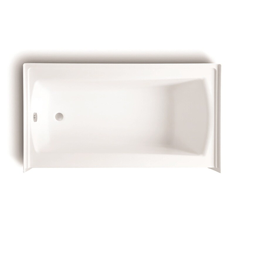 Laurel Mountain Parker 21 60-in White Acrylic Alcove Bathtub with Left-Hand Drain