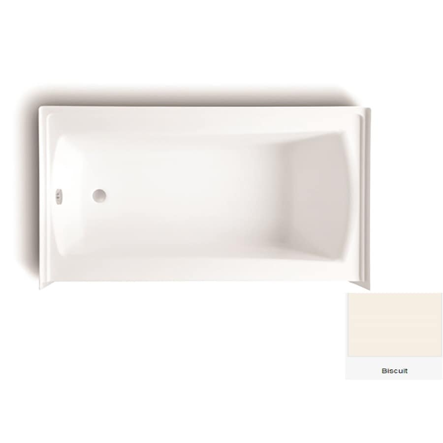 Laurel Mountain Parker 21 60-in Biscuit Acrylic Alcove Bathtub with Left-Hand Drain