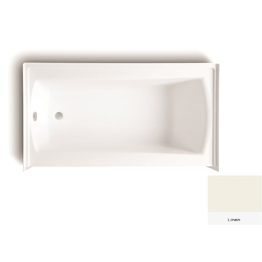 Laurel Mountain Parker 21 60-in Linen Acrylic Alcove Bathtub with Left-Hand Drain