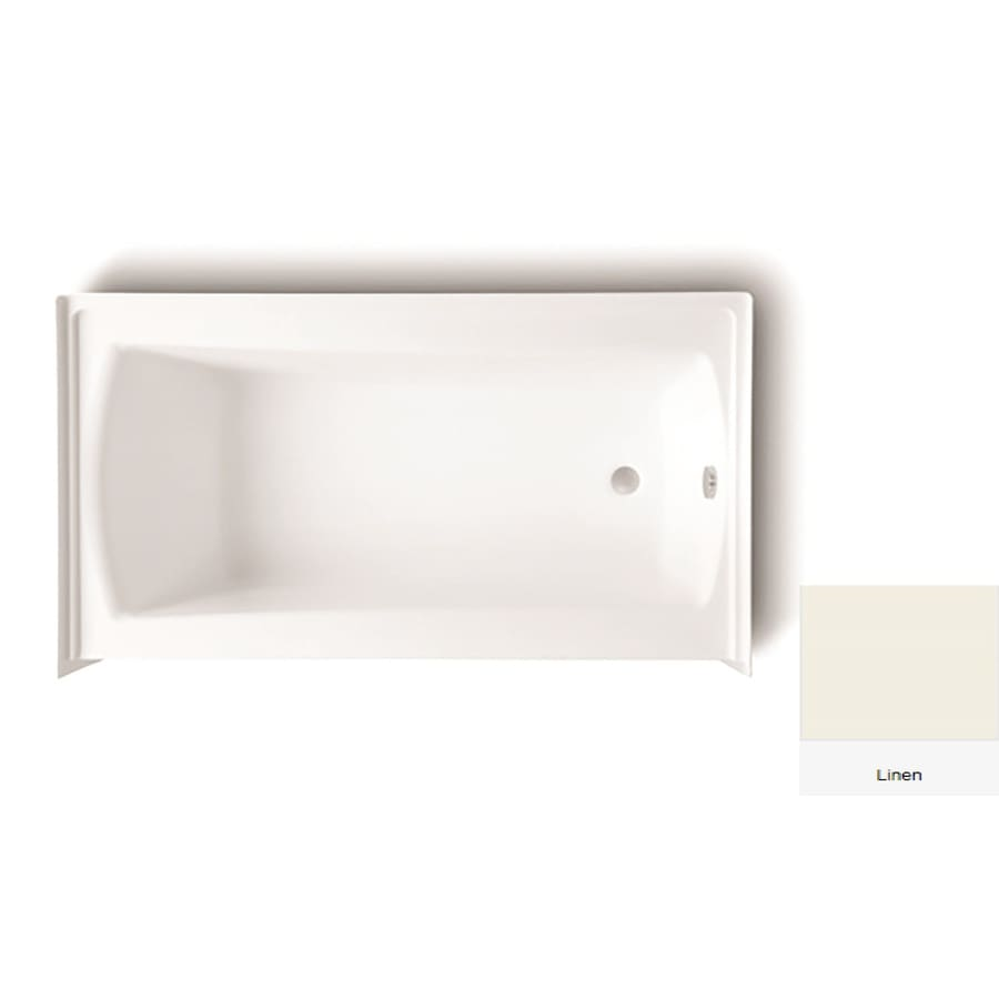 Laurel Mountain Parker 21 60-in Linen Acrylic Alcove Bathtub with Right-Hand Drain