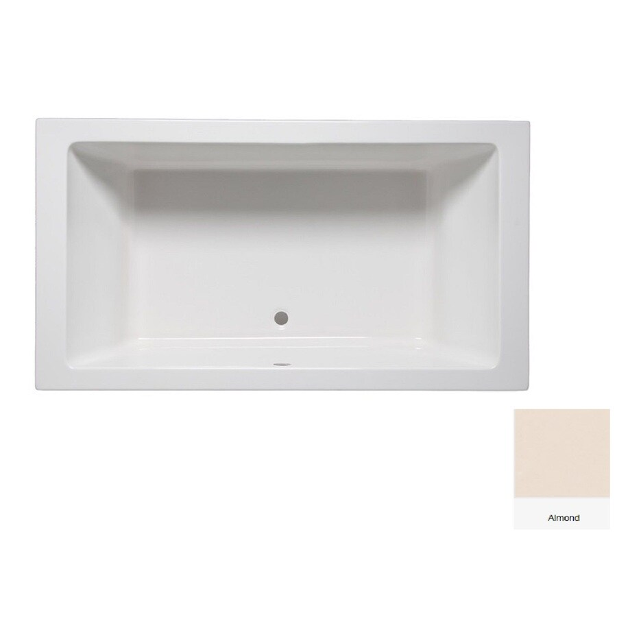 Laurel Mountain Farrell 1 Almond Acrylic Rectangular Drop-in Bathtub with Center Drain (Common: 36-in x 66-in; Actual: 24-in x 36-in x 66-in