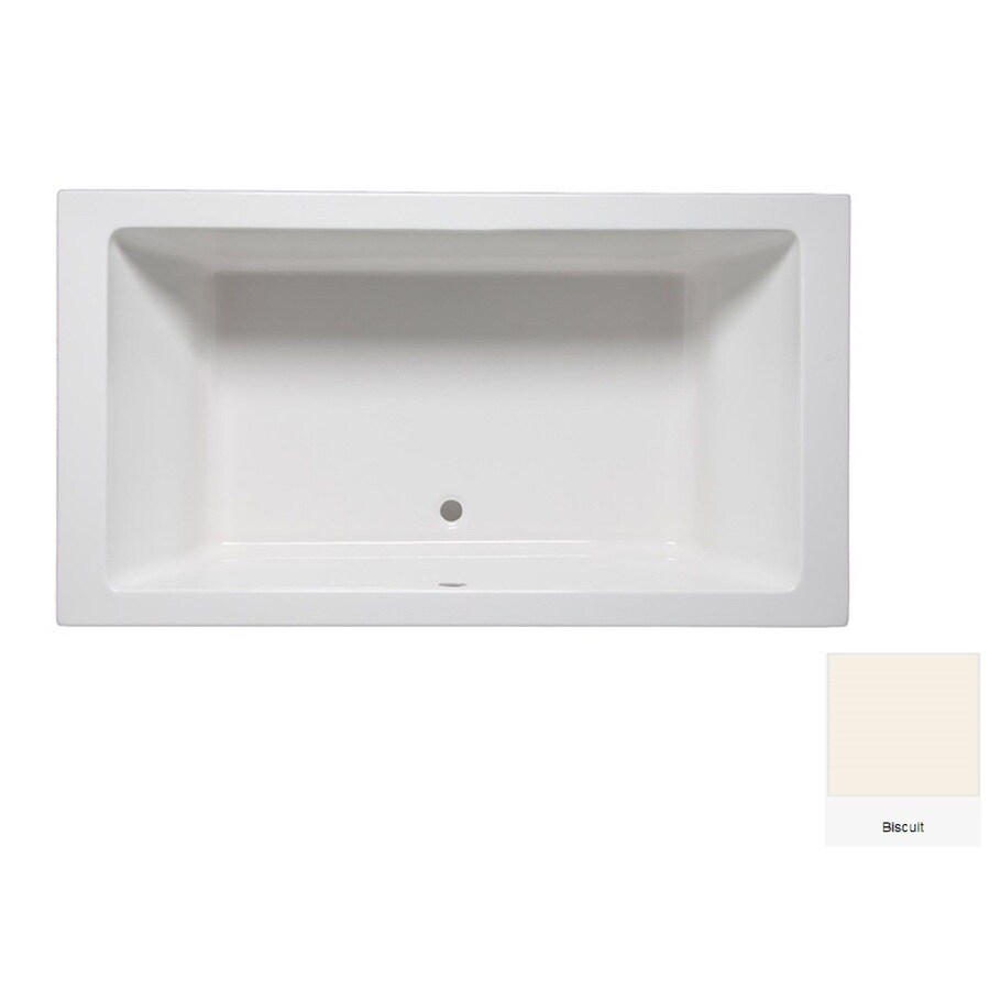 Laurel Mountain Farrell 1 Biscuit Acrylic Rectangular Drop-in Bathtub with Center Drain (Common: 36-in x 66-in; Actual: 24-in x 36-in x 66-in