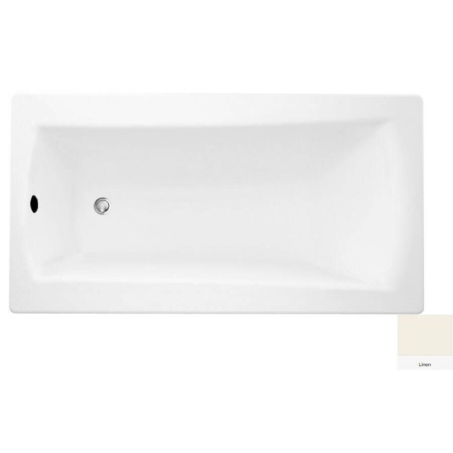 Laurel Mountain Boston 2 72-in Linen Acrylic Drop-In Bathtub with Reversible Drain