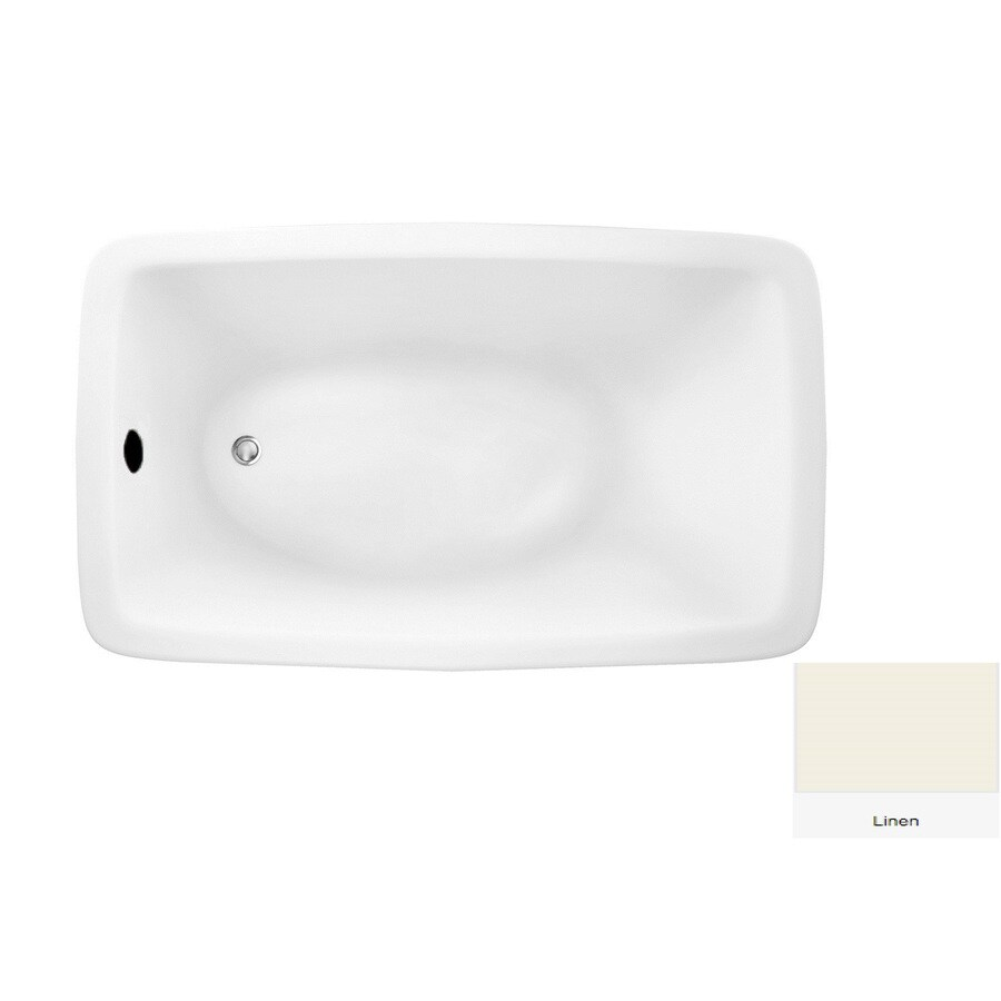 Laurel Mountain Moneta 1 60-in Linen Acrylic Drop-In Bathtub with Reversible Drain