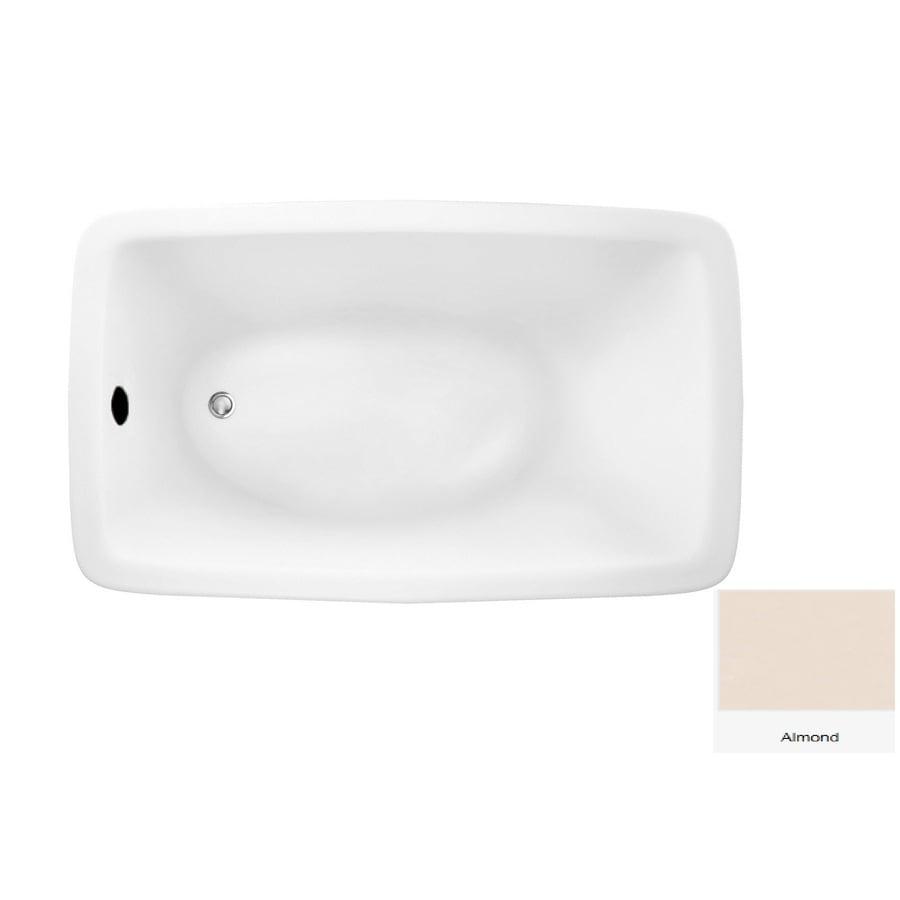 Laurel Mountain Moneta 2 Almond Acrylic Rectangular Drop-in Bathtub with Reversible Drain (Common: 36-in x 66-in; Actual: 22-in x 36-in x 66-in