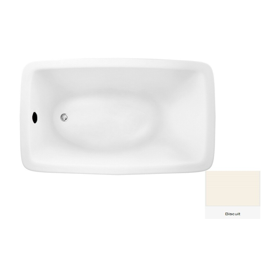 Laurel Mountain Moneta 2 66-in Biscuit Acrylic Drop-In Bathtub with Reversible Drain