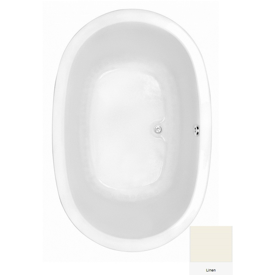 Laurel Mountain Crewe 1 Linen Acrylic Oval Drop-in Bathtub with Center Drain (Common: 43-in x 66-in; Actual: 24-in x 43.5-in x 65.75-in