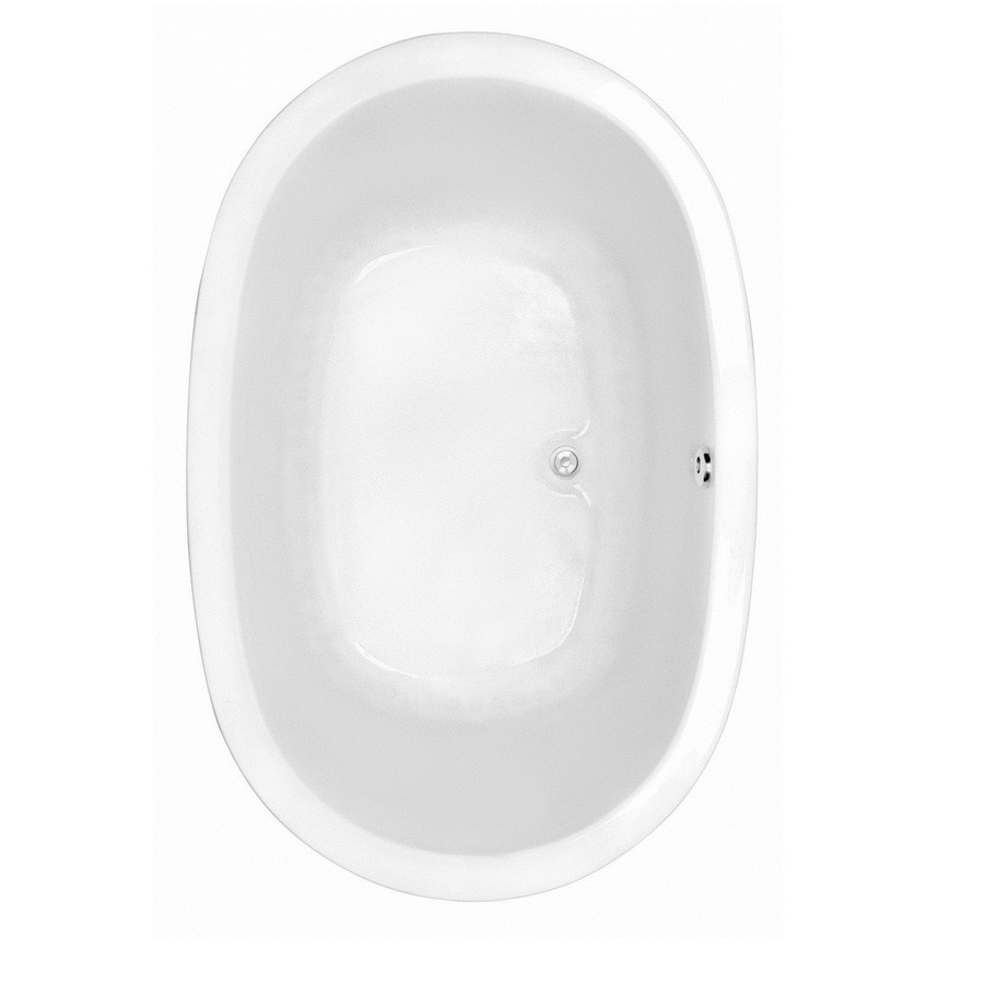 Laurel Mountain Crewe 2 White Acrylic Oval Drop-in Bathtub with Center Drain (Common: 44-in x 75-in; Actual: 23.5-in x 44.5-in x 74-in