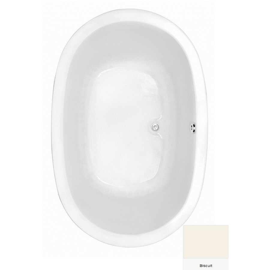 Laurel Mountain Crewe 2 Biscuit Acrylic Oval Drop-in Bathtub with Center Drain (Common: 44-in x 75-in; Actual: 23.5-in x 44.5-in x 74-in