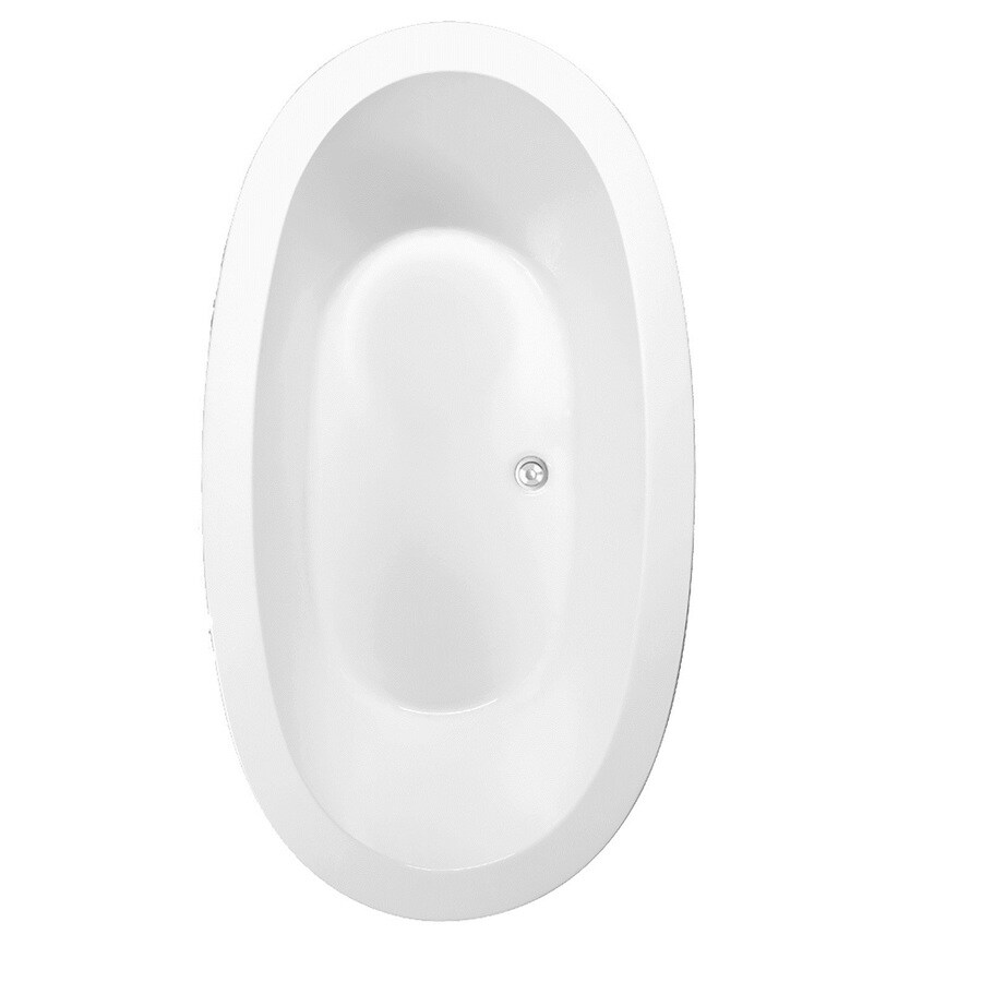 Laurel Mountain Crewe 3 White Acrylic Oval Drop-in Bathtub with Center Drain (Common: 40-in x 72-in; Actual: 23.5-in x 39.25-in x 71.75-in