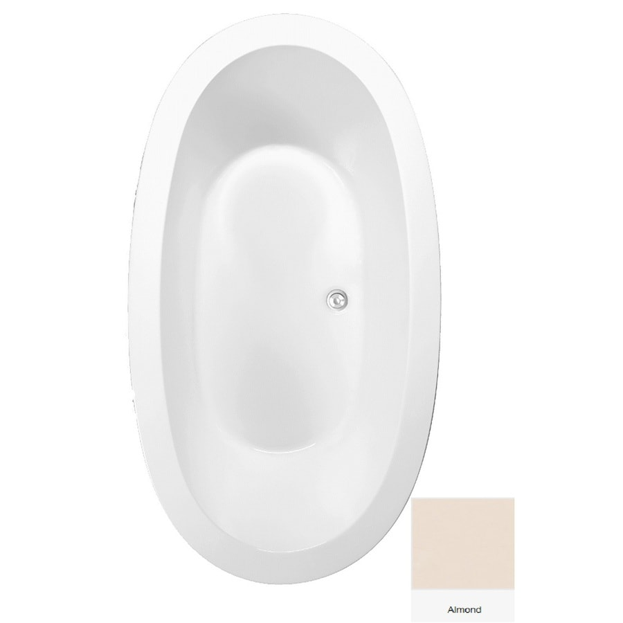 Laurel Mountain Crewe 3 Almond Acrylic Oval Drop-in Bathtub with Center Drain (Common: 40-in x 72-in; Actual: 23.5-in x 39.25-in x 71.75-in