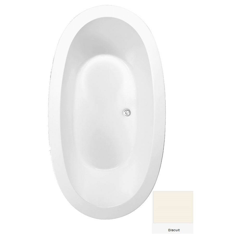Laurel Mountain Crewe 3 Biscuit Acrylic Oval Drop-in Bathtub with Center Drain (Common: 40-in x 72-in; Actual: 23.5-in x 39.25-in x 71.75-in