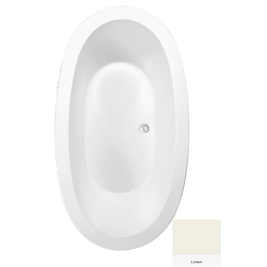 Laurel Mountain Crewe 3 71.75-in Linen Acrylic Drop-In Bathtub with Center Drain