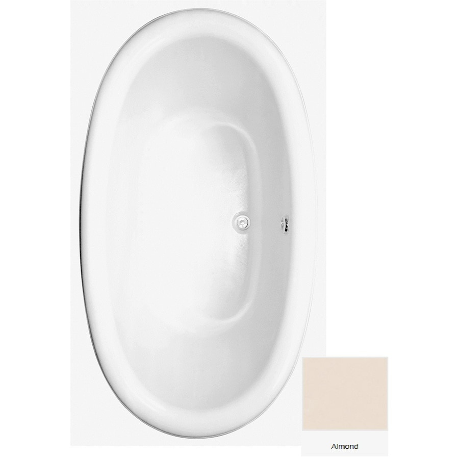 Laurel Mountain Oakton Almond Acrylic Oval Drop-in Bathtub with Center Drain (Common: 40-in x 72-in; Actual: 23.75-in x 39.625-in x 71.75-in