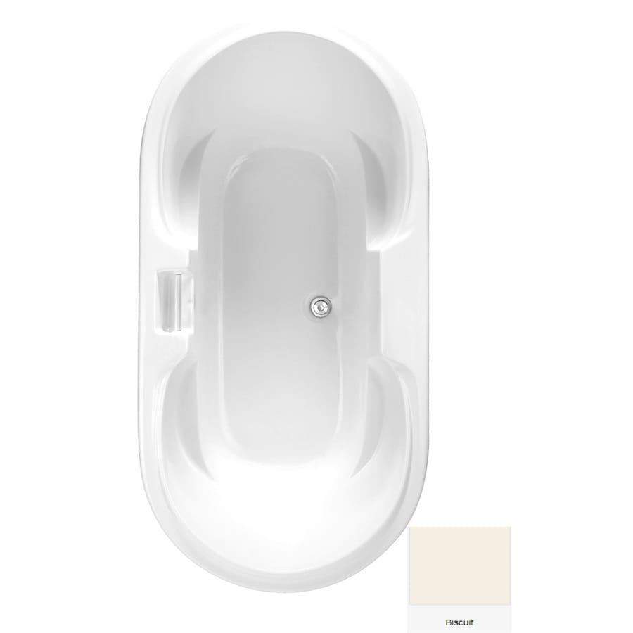 Laurel Mountain Doran Biscuit Acrylic Oval Drop-in Bathtub with Center Drain (Common: 36-in x 70-in; Actual: 25.75-in x 35.75-in x 70.25-in