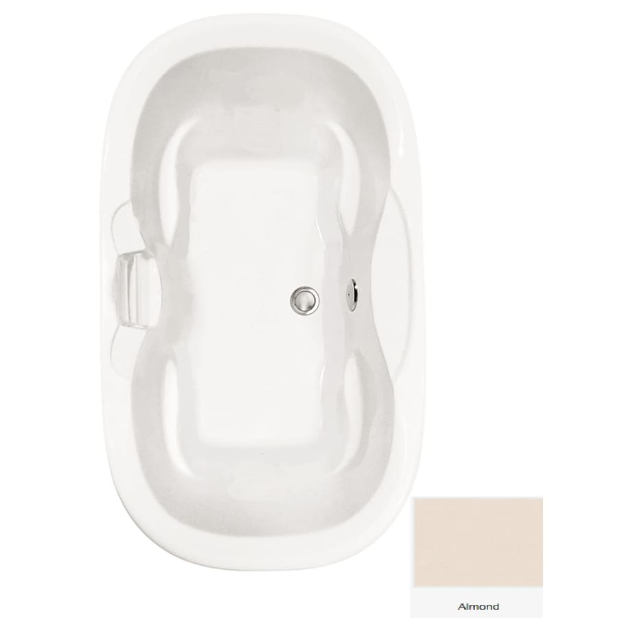 Laurel Mountain Melfa Almond Acrylic Oval Drop-in Bathtub with Center Drain (Common: 42-in x 72-in; Actual: 26.25-in x 41.75-in x 70-in
