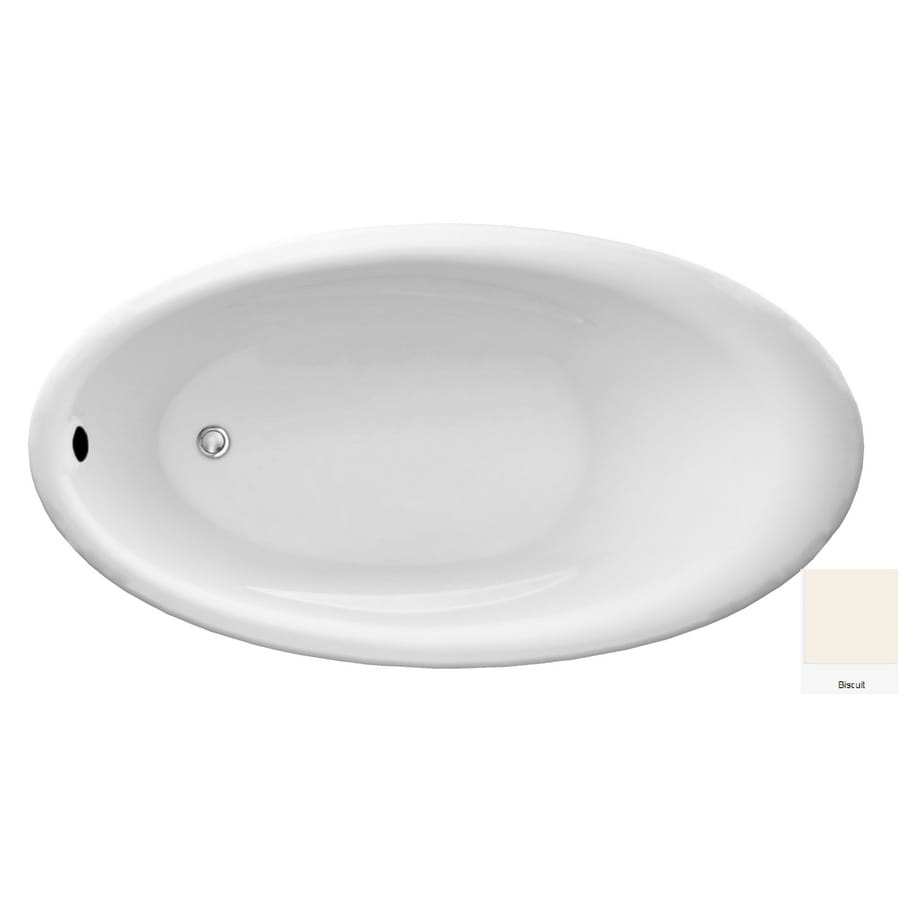 Laurel Mountain Afton Biscuit Acrylic Oval Drop-in Bathtub with Reversible Drain (Common: 34-in x 63-in; Actual: 22-in x 34-in x 63-in
